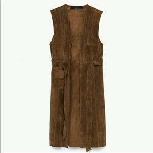 Zara studio collection leather long vest